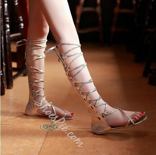 Sexy Large Size Golden/Silver Cross Strape Gladiator Sandals