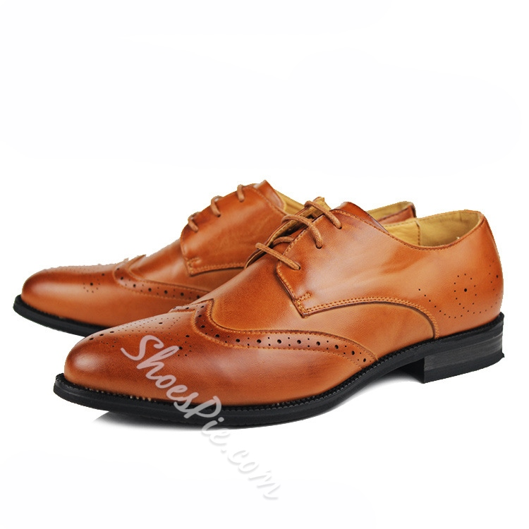 Solid Color Flat Heel Brogue Oxfords