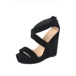 Concise Black Cross Strap Wedge Heel Sandals