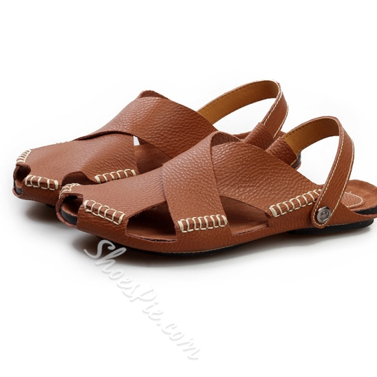 Shoespie Cut Out Leather Thong Men's Sandals
