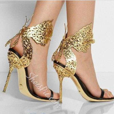 Shoespie Sexy Metal Butterfly Decorated Metal Heel Stiletto Sandals