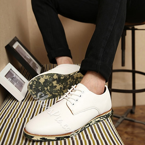 Camouflage Sole Solid Color Lace-Up Sneakers