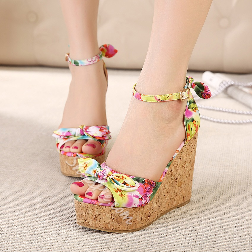 1794d8f4f9c Sweet Bowknot Floral Print Ankle Strap Wedge Sandals- Shoespie.com