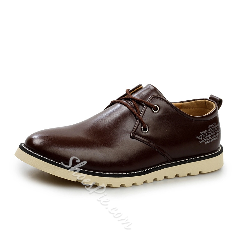 Patent Leather Plain-Toe Lace-Up Loafers