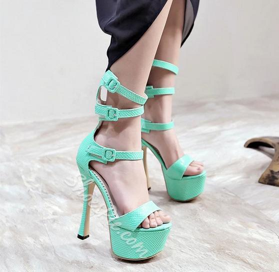 Striking Solid Color Buckle Decorated Stiletto Platform Sandals