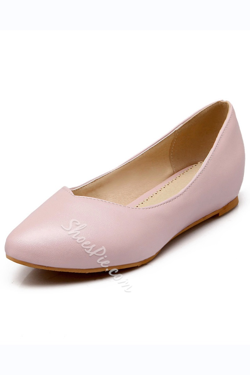 Concise Pure Color Round Toe Flats