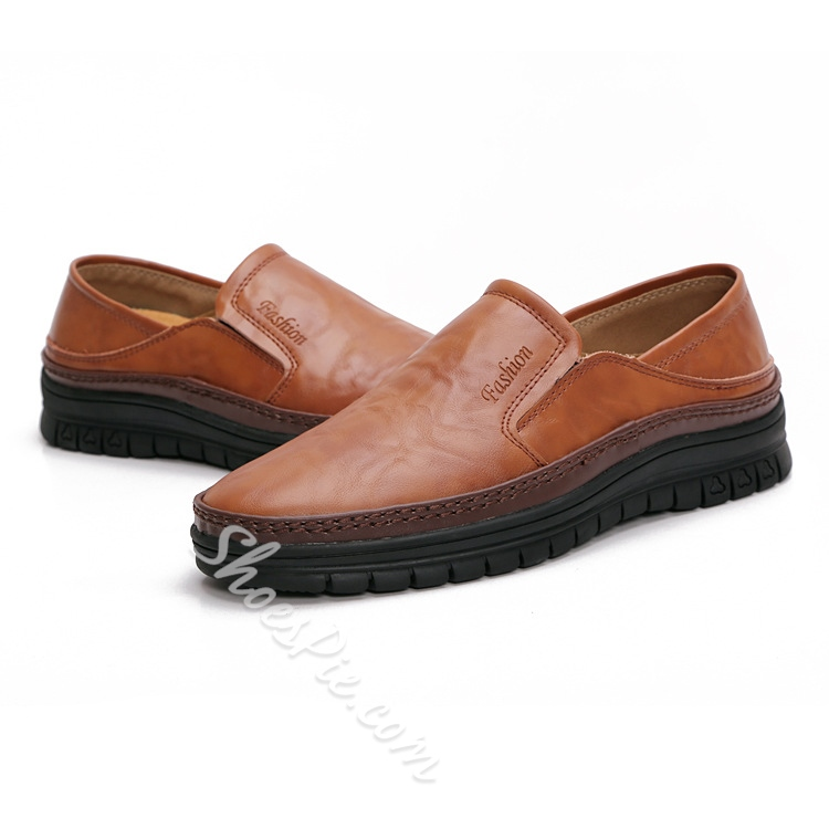 Solid Color Patchwork Elastic Loafers