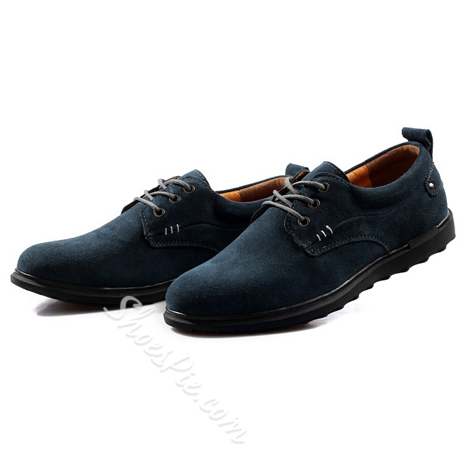 Solid Color Nubuck Lace-Up Oxford