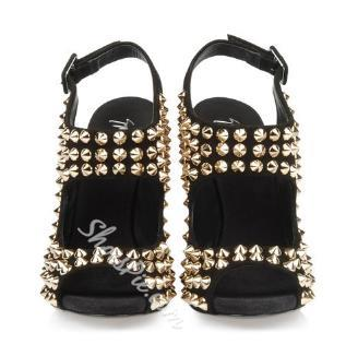 Shoespie Striking Rivet Decorated Genuine Leather Stiletto Sandals