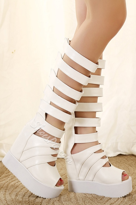 Sexy Strappy Peep-Toe Wedge Sandals