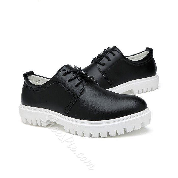 Solid Color Plain-Toe Lace-Up Loafers