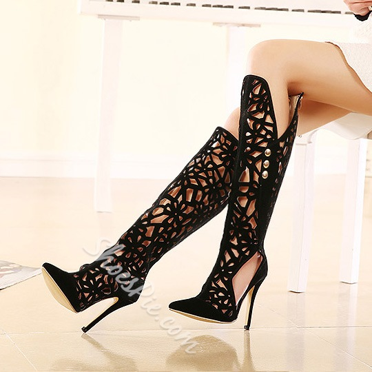 Chic Cut-Outs Botton Decorated Knee High Boots