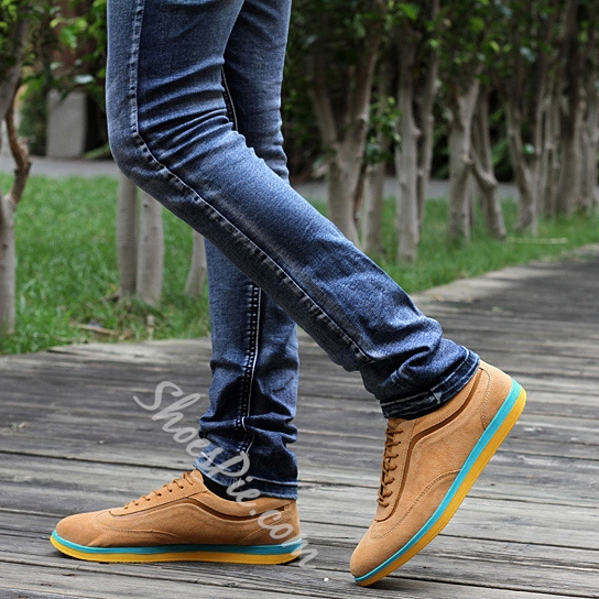 Color Block Sole Lace-Up Loafers