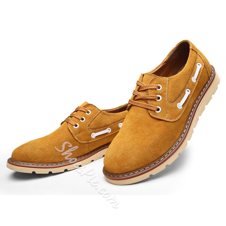 Solid Color Plain-Toe Nubuck Oxfords