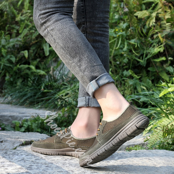 Solid Color Mesh Patchwork Loafers