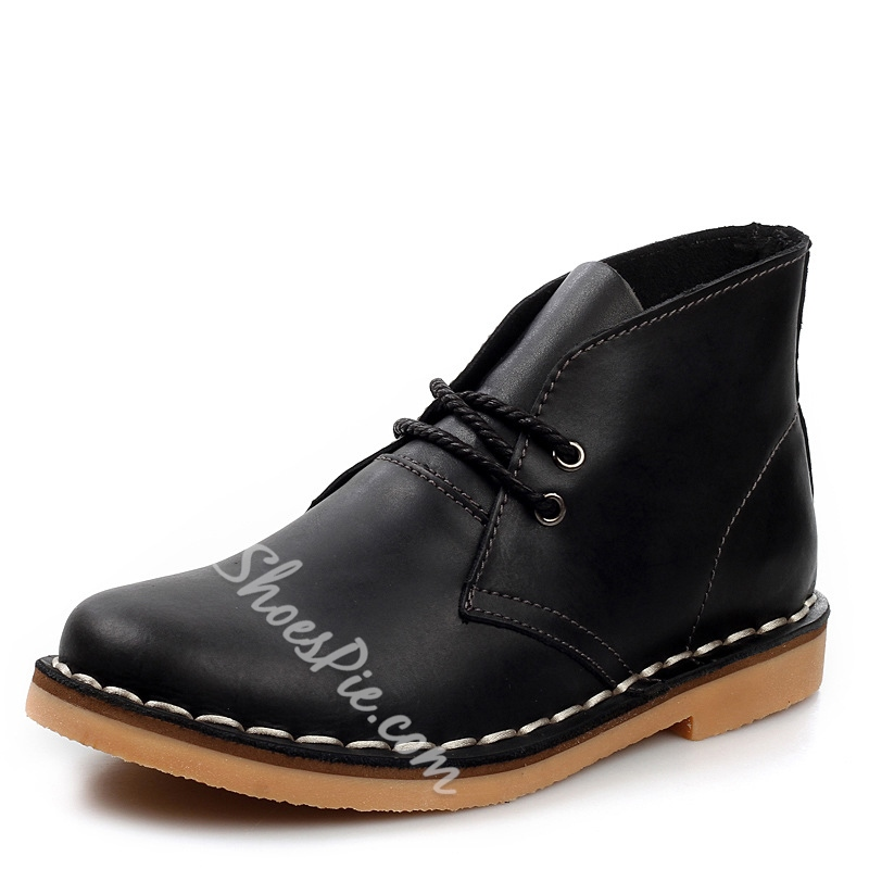 Solid Color Plain-Toe Lace-Up Ankle Boots