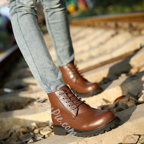 Solid Color Lace-Up Ankle Oxford