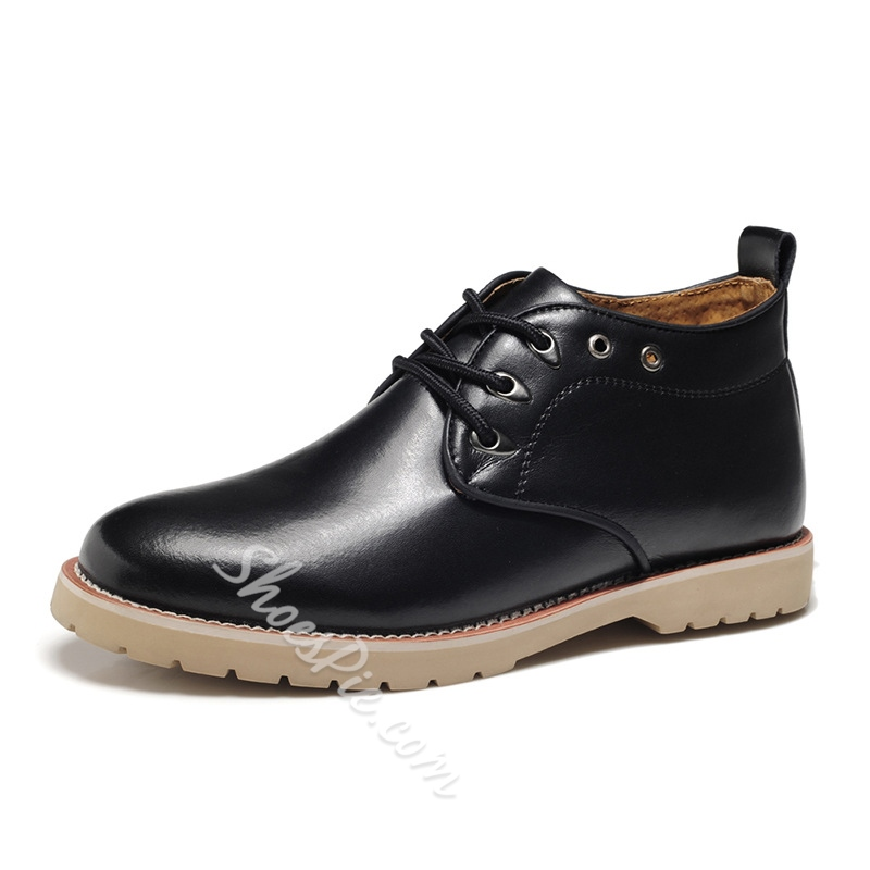 Patent Leather Plain-Toe Lace-Up Ankle Boots