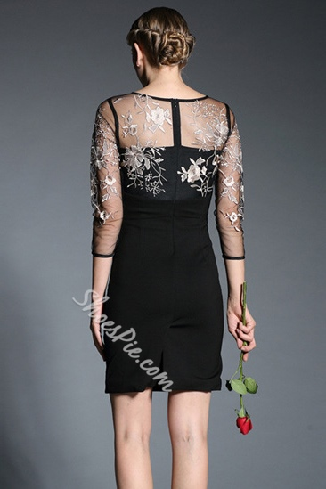 Shoespie Plant Embroidery Zipper Bodycon Dress
