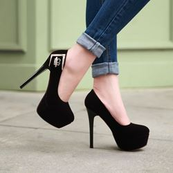 Elegant Suede Platform Heels with Metal Decoration