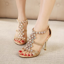Ethnic Luxrious Rhinestone Peep-toe Sandals