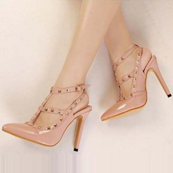 Shoespie Rivets Ankle Strap Cheap Heels