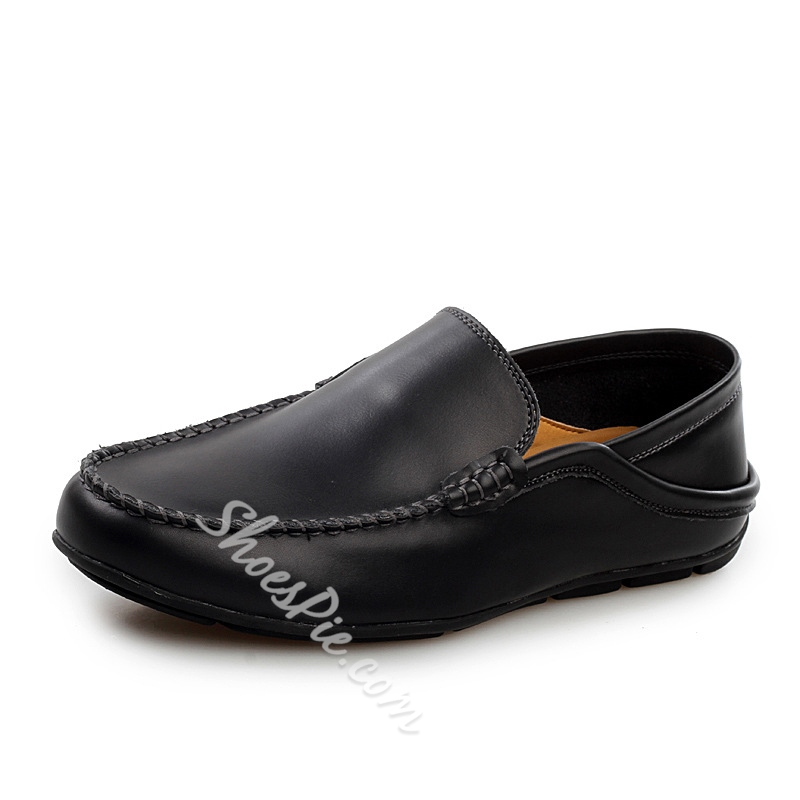 Shoespie Solid Color Quilted Round Toe Patchwork Loafers