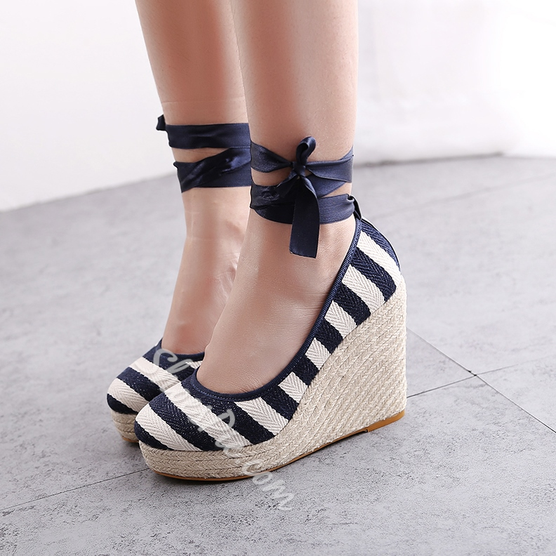 New Spring Sweet Denim Lace-up Wedge Heels- Shoespie.com