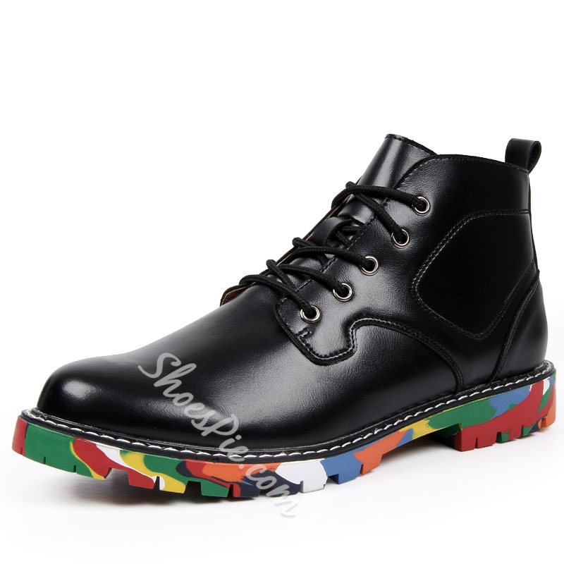 Print Sole Patent Leather Men's Ankle Boots