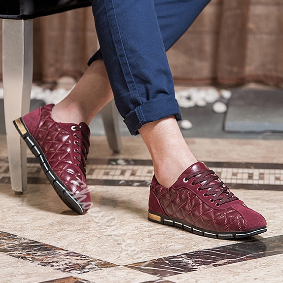 Solid Color Quilted Patchwork Lace-Up Sneakers