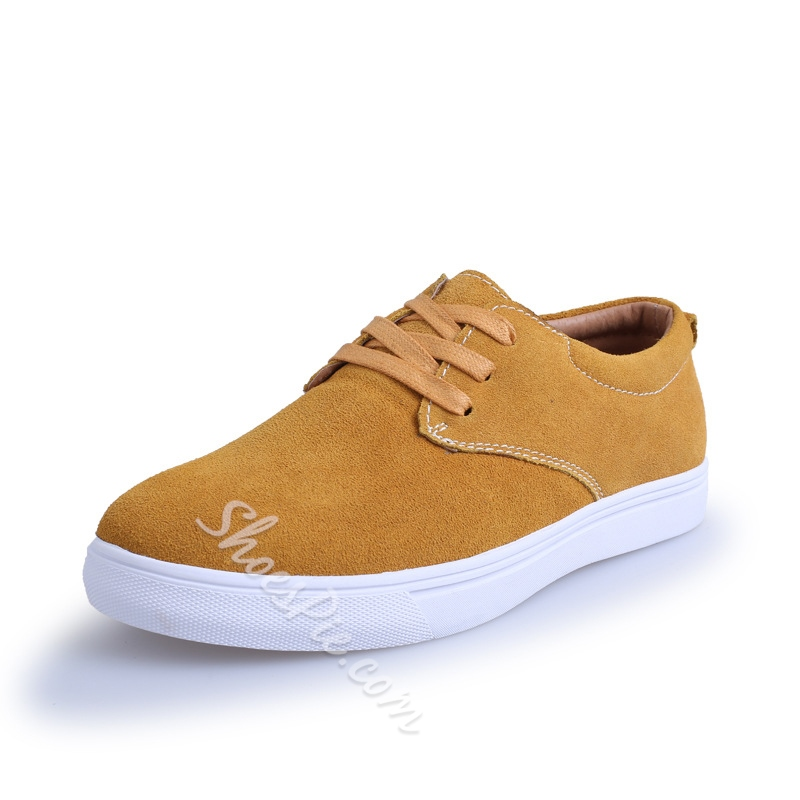 Solid Color Plain-Toe Lace-Up Sneakers