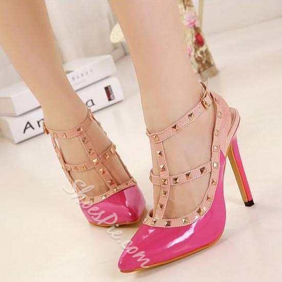 Popular Rivets Decorated Ankle Strap Stiletto Heels