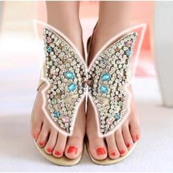 Shoespie Fantastic Rhinestone Genuine Leather Thong Flat Sandals