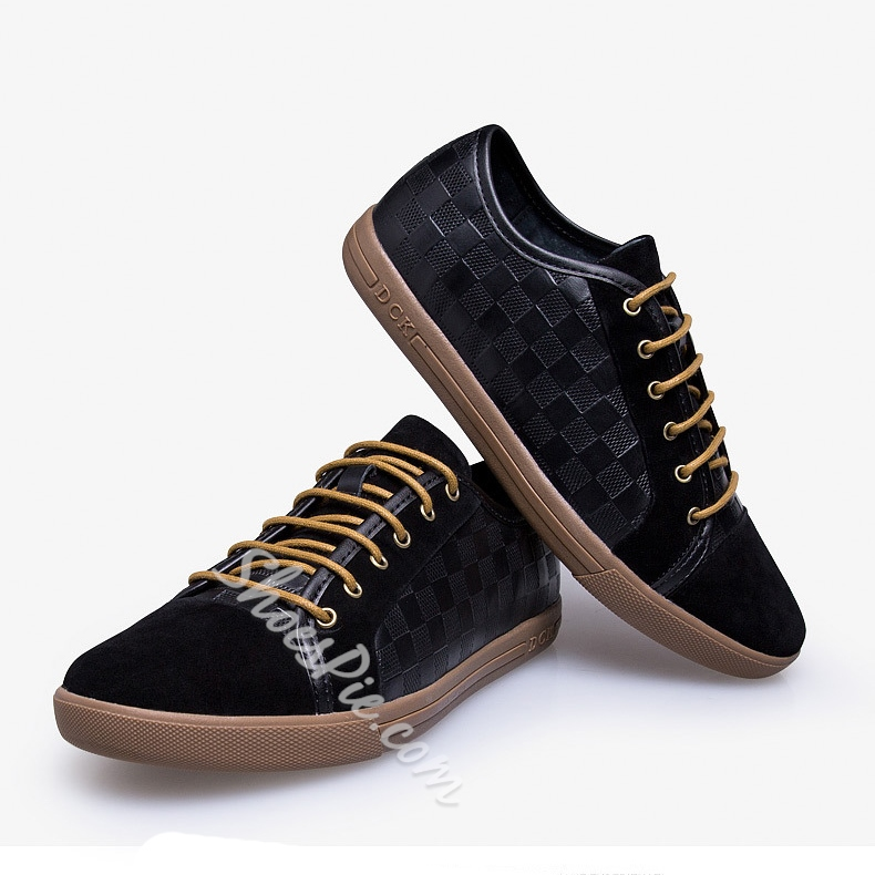 Embossed Plaid Patchwork Lace-Up Sneakers