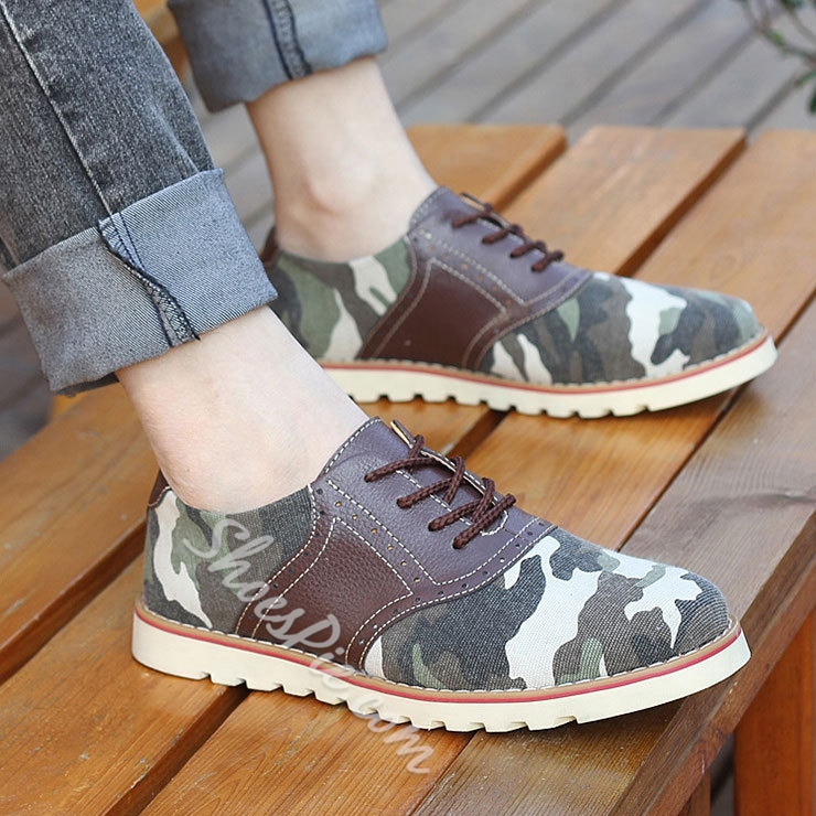 Leopard Print Patchwork Lace-Up Flats Loafers