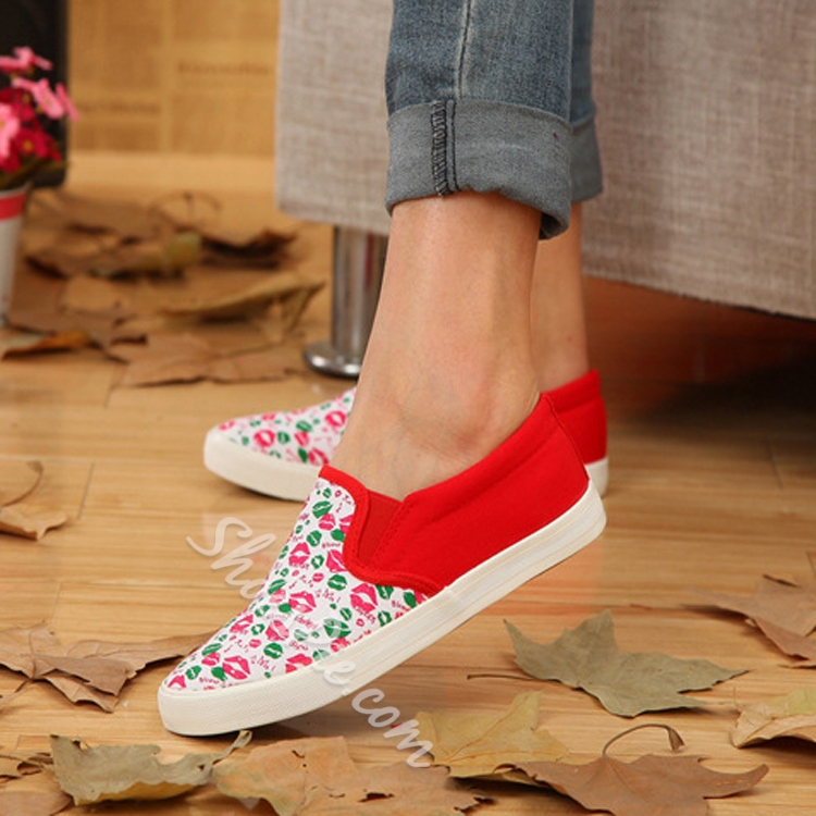 Print Patchwork Elastic Slip-On Canvas Shoes