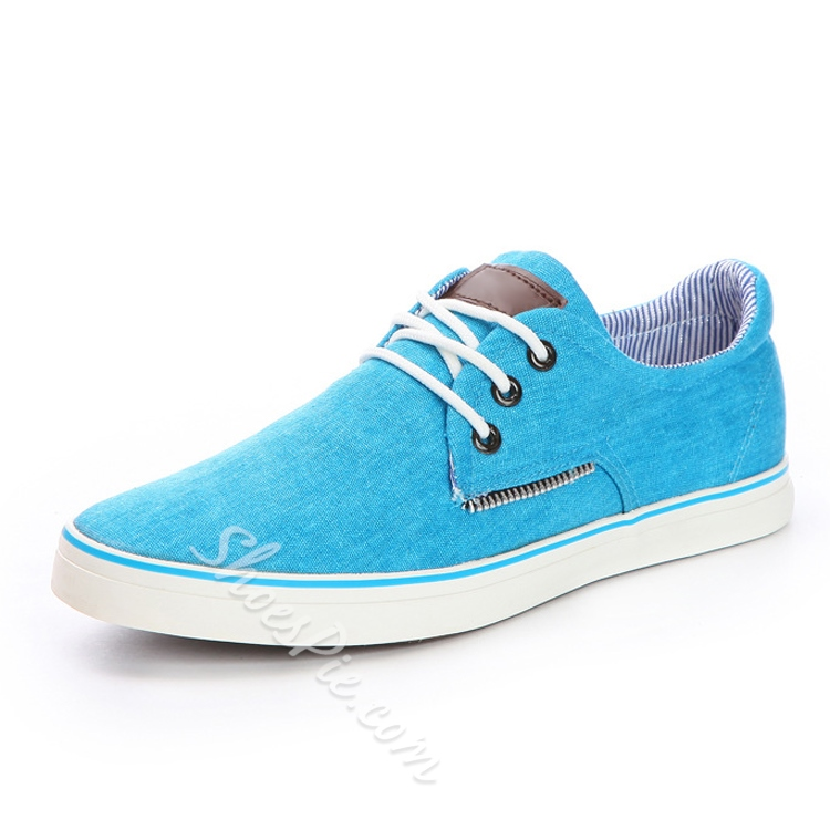 Solid Color Lace-Up Canvas Shoes