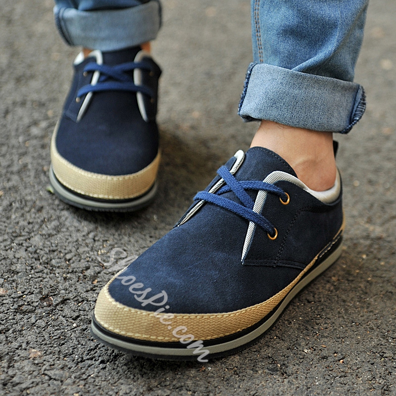 Solid Color Patchwork Lace-Up Men's Sneakers