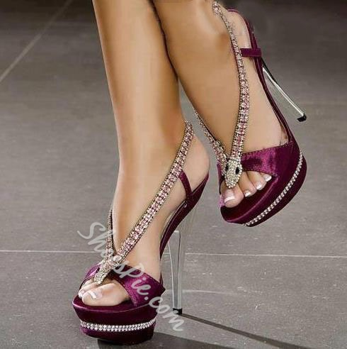 Sexy Rhinestones Snake Shaped Plus Size Dress Sandals