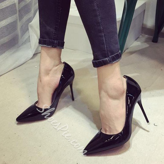 Elegant Solid Color Pointed Toe Stilletto Heels
