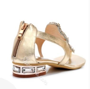 Fantastic Rhinestone Genuine Leather Thong Flat Sandals