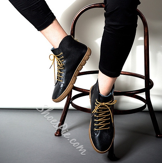 Metal Decorated Lace-Up Ankle Sneakers