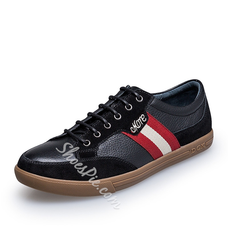 Solid Color Patchwork Lace-Up Sneakers