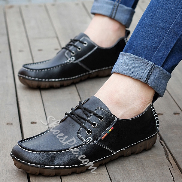 Patent Leather Quilted Lace-Up Flats Loafers