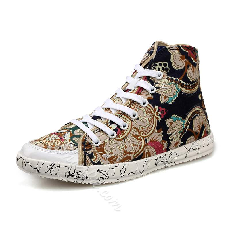 Shoespie Print Lace-Up High-Cut Upper Men's Canvas Shoes