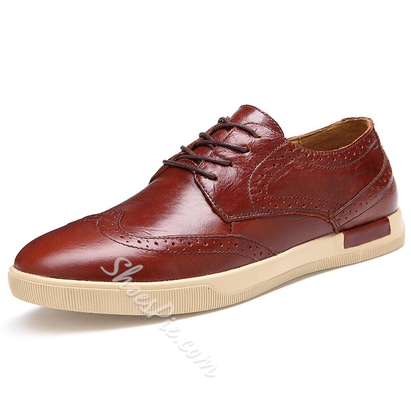 Solid Color Lace-Up Brogue Loafers