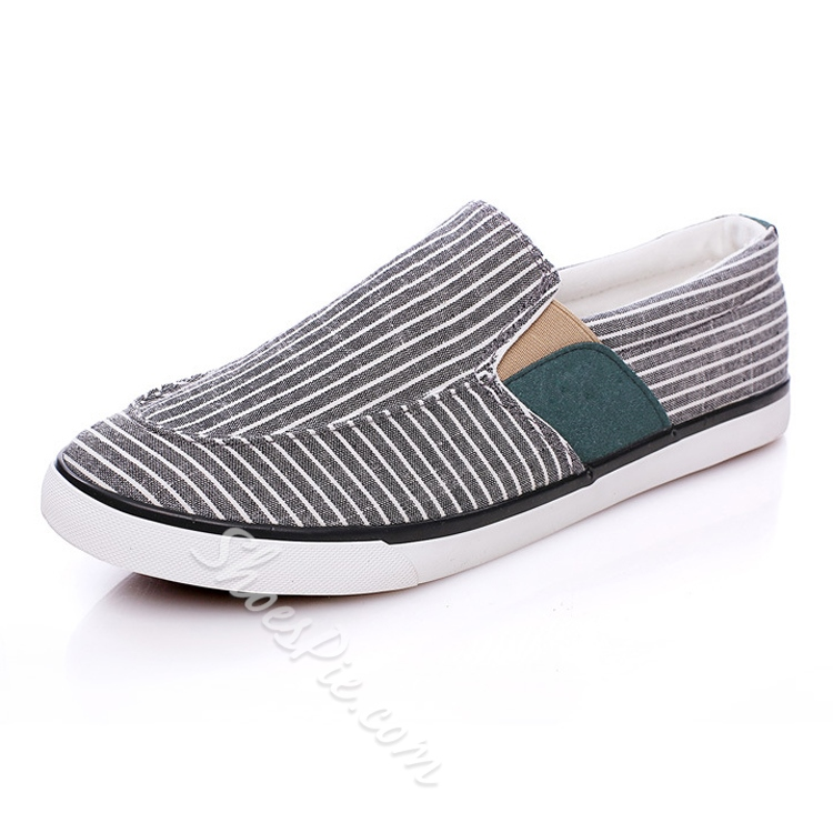 Stripe Quilted Elastic Canvas Shoes