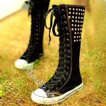 Black Rivet High Heel Women's Canvas