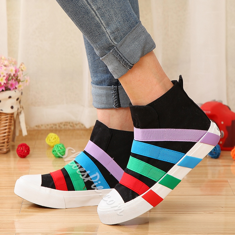 Spring Sweet Color Strip Casual Canvas Shoes