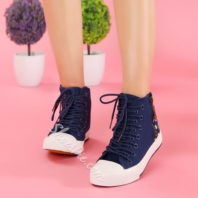 Print Side Zipper Lace-Up Canvas Shoes